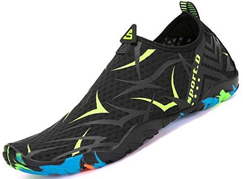 SAGUARO Descalzo los zapatos del agua de la playa Piscina al deslizamiento húmedo sobre el Aqua pega los zapatos de piel de secado rápido para Unisex adulto 43 EU Patrón Verde