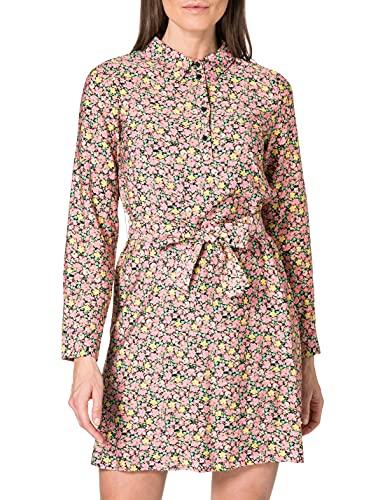 VERO MODA Damen VMELLIE L/S Short Dress WVN Kleid, Geranium Pink/AOP:Ellie, S