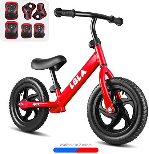 Kids Sport Balance Bike,Classic Push Walking Bicycle Toy with Hand,Elbow and Knee Pads,Lightweight Balance Bike-No Pedal Sport Training Bicycle for Boys Girls Kids (Red)