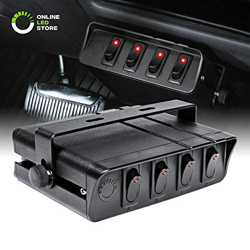 ONLINE LED STORE 4-Gang 12V Rocker Switch Box [40 Amp Max.] [12 AWG Wires][12 Volt DC] SPST On/Off Rocker Toggle Switch Panel Box for Jeep Auto Automotive Lights Car Marine Boat Truck Vehicles & More