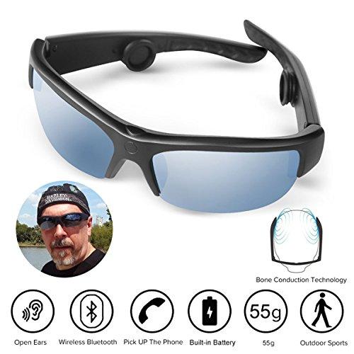 AcTek Knochenleitung Sonnenbrille Knochenleitung Kopfhörer Drahtlose Bluetooth Lauf Hands-Free-Kopfhörer mit NFC Stereo Kopfhörer Sport Headset für iPhone und Android