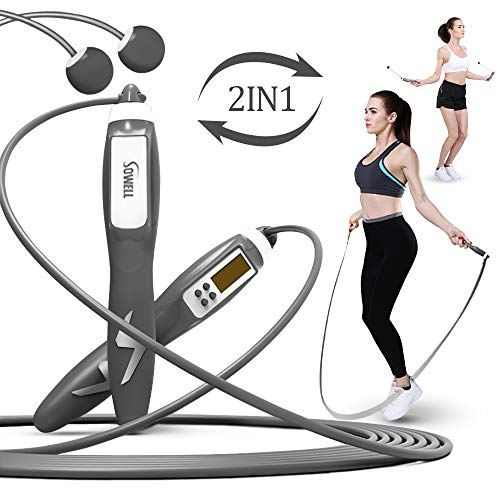 ZOESOE Jump Rope, Skipping Rope with Digital Counting, Timing and Calorie Measurement Functions for Indoor and Outdoor Fitness Training, Cordless Skipping Rope (Gray)