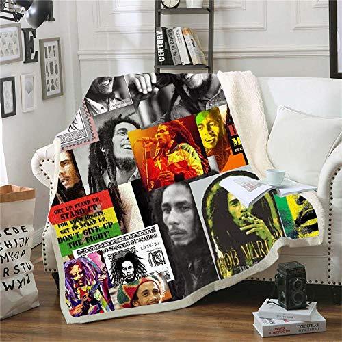 LIFUQING Reggae Singer Bob Marie Wade (Bobweed) Office Fashion Quilt Casual Children Sherpa Children -130X150Cm