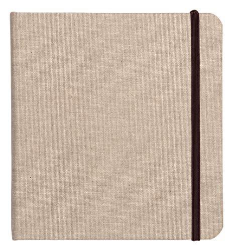 Clairefontaine 96109C - Un carnet de voyage Goldline 64 pages de papier dessin blanc 20x20 cm 180g, couverture toilée et fermeture élastique