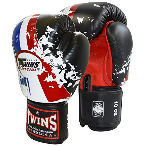 TWINS Thai Flag 12 UZ Boxhandschuhe Leder Rindsleder schwarz weiss blau rot Unzen OZ Box-Handschuhe Glover Muay Thai Thaiboxen Thaiboxing MMA K1 K-1