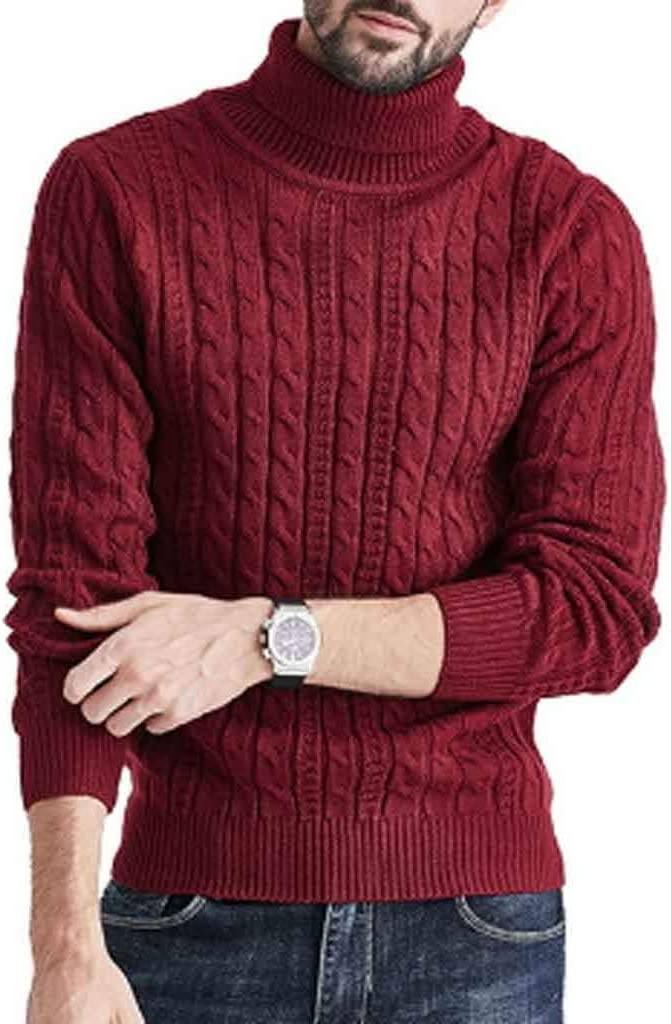 ZYING New Winter Men Solid Color Sweater High Neck Thick Warm Twist Jumper Loose Sweater Turtleneck Slim Fit Pullover Men Knitwear (Color : Style 2)