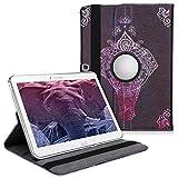 kwmobile Hülle kompatibel mit Samsung Galaxy Tab 4 10.1 T530 / T535-360° Tablet Schutzhülle Cover Hülle - Elefant Zeichnung Pink Anthrazit