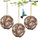 CHLORIS Globe Hummingbird Nester, Bird Nesting Material Holder Rattan Ball Toy with Refillable Natural Cotton for Outdoor Wild Birds Wrens Finches Sparrows and Parrots (3 Pack)