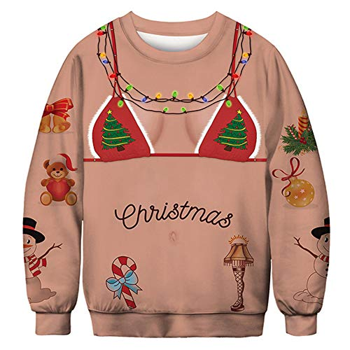MongKok Men Women Christmas Sweater Pullover Sweatshirts 3D Elf Boobs Long Sleeve Top