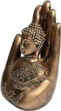 Blesiya Buddhist Collection Buddha Sitting in Hand Statue Sculpture Figurines Meditation Room Home Office Decor - Golden
