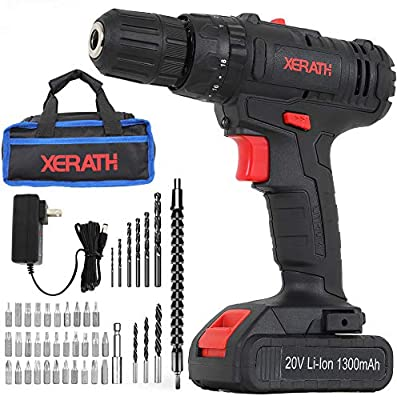 Cordless Drill Driver Kit, 20V Max Impact Hammer Drill Set w/Lithium-Ion Battery, Fast Charger, 21+1+1 Clutch, 330 In-lb Torque, Variable Speed & Built-in LED for Drilling Walls, Bricks, Wood, Metal