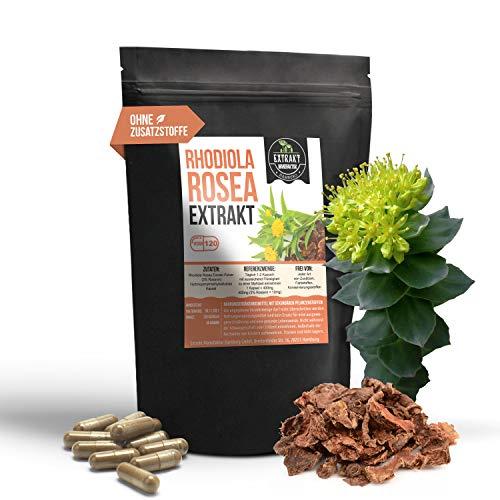 Rhodiola Rosea EXTRAKT | 3% Rosavin | 120 KAPSELN - 400mg Rosenwurz | ohne Zusatzstoffe und laborgeprüft | hochdosiert, 100% vegan & in Deutschland hergestellt (Kapseln 120)