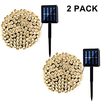 2 Pack 100 LED Solar String Lights 42ft 8 Modes Outdoor Waterproof Lights for Garden, Tree, Yard, Christmas, Wedding, Party (Warm White)