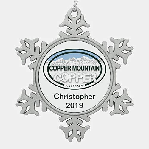 McC538arthy Snowflake Christmas Ornament, Personalized Copper Mountain Colorado Christmas Metal Keepsake Tree Ornaments Xmas Hanging Decorations Holiday Decor 3 Inch