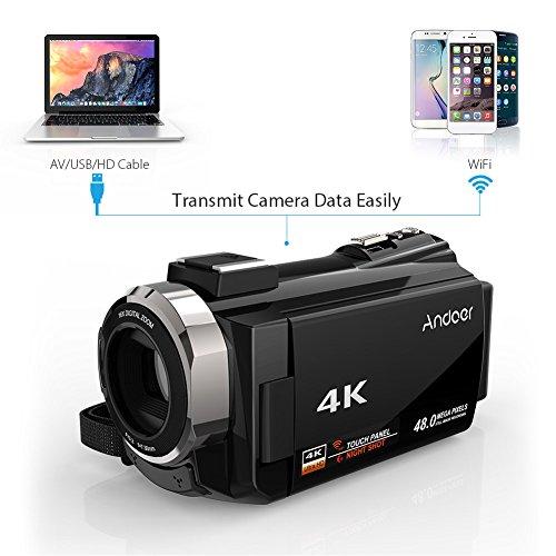 Andoer 4K Camcorder 1080P 48MP WiFi Digitalvideokamera IR Nachtsichtgerät 16X Digitalzoom mit 0.39X Weitwinkel Makroobjektiv + externes Mikrofon + LED-Videolicht + Kameratasche