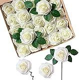 Fiori Artificiali, ACDE Rosa Artificiali 25 Pezzi Rose Finte Schiuma Aspetto Reale con Foglia e Gambo Regolabile per DIY Matrimoni Mazzi Nuziale Festa Casa Stanza Decorazioni (Avorio)