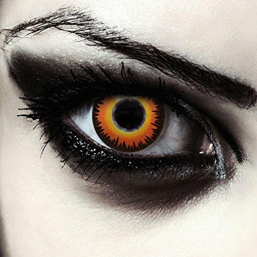 Designlenses, farbige Werwolf Kontaktlinsen für Halloween Pennywise Kostüm ohne Sehstärke, Orange Werewolf, 2 Stück