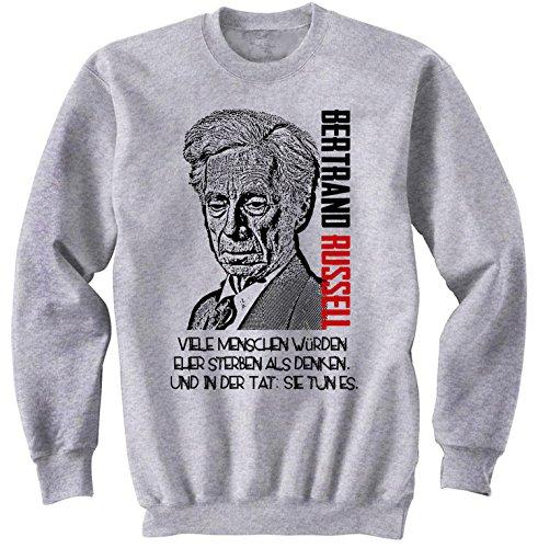 teesquare1st Men's Bertrand Russell Viele Menschen Grey Sweatshirt Size Medium