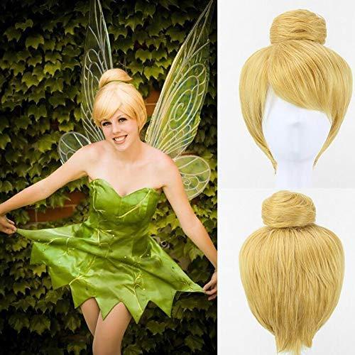 30cm rubio corto de Cosplay de la peluca Hada Campanita llena del pelo de moda Moda pelucas princesa Campanilla tamaño adulto sintético + Cap peluca de moda WTZ012