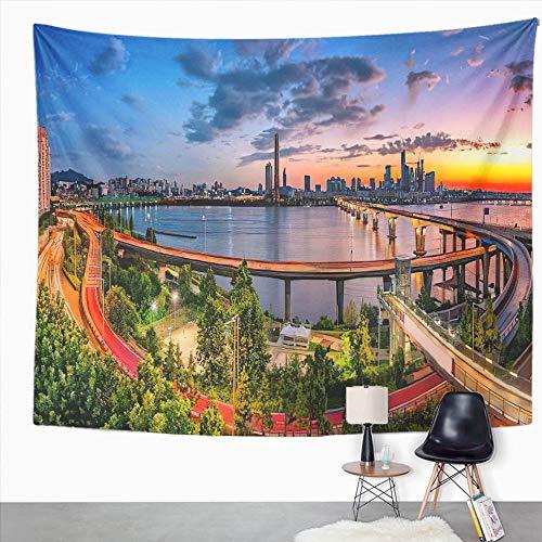 Y·JIANG Tapiz de Corea del Sur, Skyline Sunset en el río Han en Seúl Home Dormitorio Tapices grandes decorativos, manta ancha para colgar en la pared para sala de estar, dormitorio, 60 x 50 pulgadas