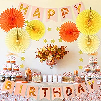 Fall Birthday Decorations Kit Autumn Birthday Party Decor Fall Party Decor Tissue Paper Fan Happy Birthday Banner Paper Star Garland Baby Shower Wall Hanging Decoration Autumn Thanksgiving Decorations