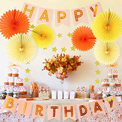 Fall Birthday Decorations Kit Autumn Birthday Party Decor Fall Party Decor  Tissue Paper Fan Happy Birthday Banner Paper Star Garland Baby Shower Wall
