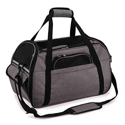 Kaka mall Transporttasche für Katzen Hunde Comfort Fluggesellschaft zugelassen Travel Tote Weiche Seiten Tasche für Haustiere (S, Grau)