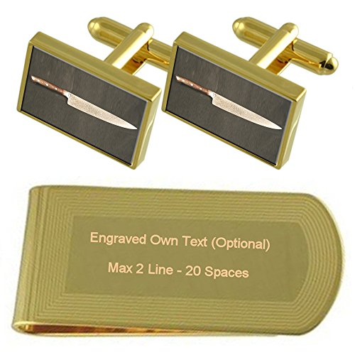 Cuchillo de Chef de tono Oro gemelos Money Clip grabado Set de...