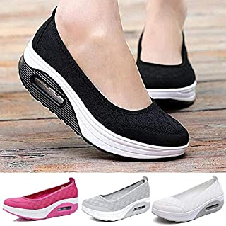 Fashion Women's Summer Comfortable Shake Shoes Casual Sneakers Fitness Shoes (EU Size:35-40)(Cool Black,9)