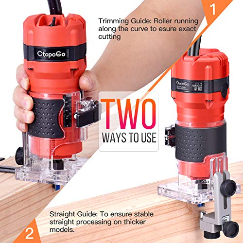 CtopoGo Compact Wood Palm Router Tool Hand Trimmer WoodWorking Joiner Cutting Palmming Tool 30000R/MIN 800W 110V with 12PCS 1/4
