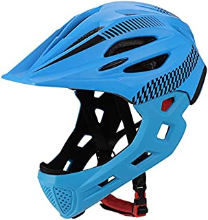 ROWEQPP Children Bike Riding 16-Hole Breathable Helmet Detachable Full Face Chin Protection Balance Bicycle Safety Helmet with Rear Light