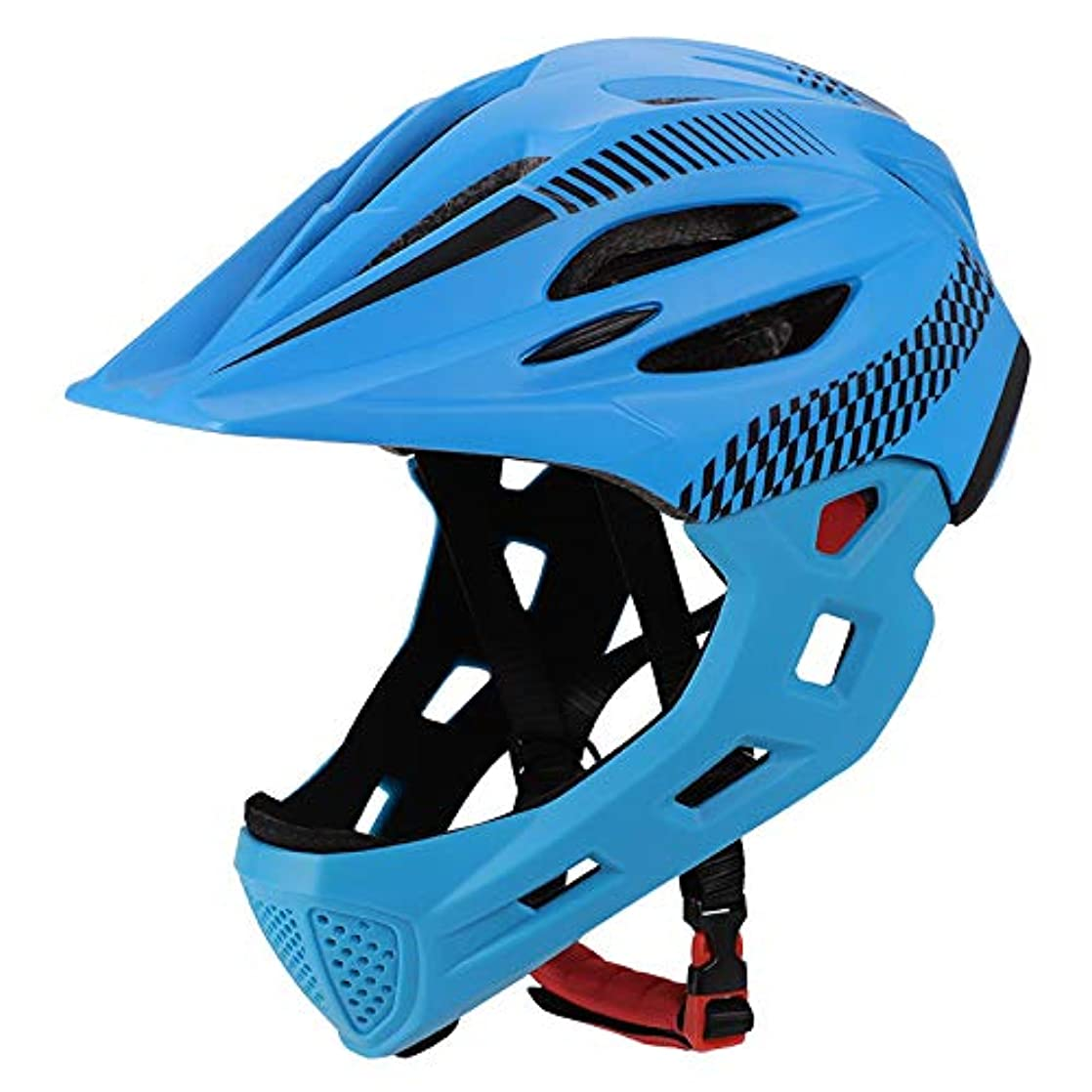 Aoile Children Bike Riding 16-Hole Breathable Helmet Detachable Full Face Chin Protection Balance Bicycle Safety Helmet with Rear Light Blue Black gkkvtair79940