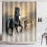 Retro West Cowboy Duschvorhang Tier Wasserdichtes Gewebe Polyester Duschvorhang Pferd Badevorhang S.15 180x200cm
