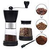 MDCGFOD Manual Coffee Grinder with 2 Glass Coffee Containers 5.5 oz for Ground Coffee Bean Grinder...