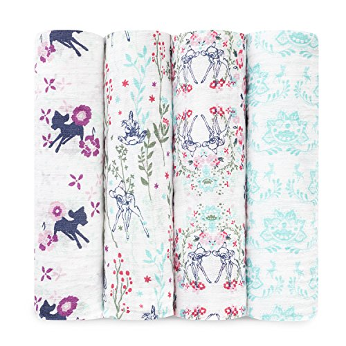 aden + anais Disney Swaddle Blanket, Boutique Muslin Blankets for Girls & Boys, Baby Receiving Swaddles, Ideal Newborn & Infant Swaddling Set, 4 Pack, Bambi