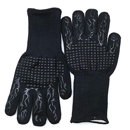 ACOMOO Barbecue Gloves 800℃/1472℉ Very high Temperature Resistant Barbecue Gloves with Finger Non-Slip Oven Gloves, Used for Barbecue, Barbecue, Cooking, Baking Outdoor Cooking Gloves 1 Pair (black1)