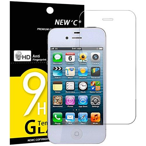 NEW'C 3 Pezzi, Vetro Temperato Compatibile con iPhone 4 e iPhone 4S, Pellicola Prottetiva Anti Graffio, Anti-Impronte, Durezza 9H, 0,33mm Ultra Trasparente, Ultra Resistente