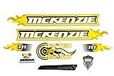 Fahrrad DEKOR Satz Aufkleber Rahmen Frame Decal Sticker Mc Kenzie Orange Gelb Weiß