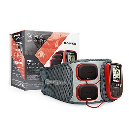 SPORTELEC Elektrostimulationsgerät Multisport Pro Set mit hochwertigem Bauchgürtel | hochleistungs EMS mit 100mA | 94 Programme | 4 Kanäle | Akku | Doppelelektroden | Muskelaufbau | Muskelerholung |
