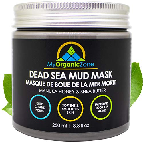 Dead Sea Mud Mask - Face & Body Deep Pore Cleansing, Acne Treatment, Anti Aging & Anti Wrinkle, Organic Natural Facial Clay Mask for Smoother and Softer Skin (250g./8.8oz.)