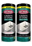 Weiman Granite Cleaner and Polish - 2 Pack - 30 Wipes - for Granite Marble Soapstone Quartz Quartzite Slate Limestone Corian Laminate Tile Countertop and More