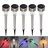 KoBean 5 Pcs Outdoor Stainless Steel Solar Power 7 Color Changing LED Garden Landscape Path Pathway Lights Lawn Lamp