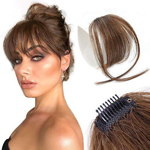 Clip in Pony 100% Remy Echthaar Perücke Fringe Bangs One Piece Haarteil In Front Hair Extension Verlängerung Natürliche Flache Pony Glatt Blond VD042C