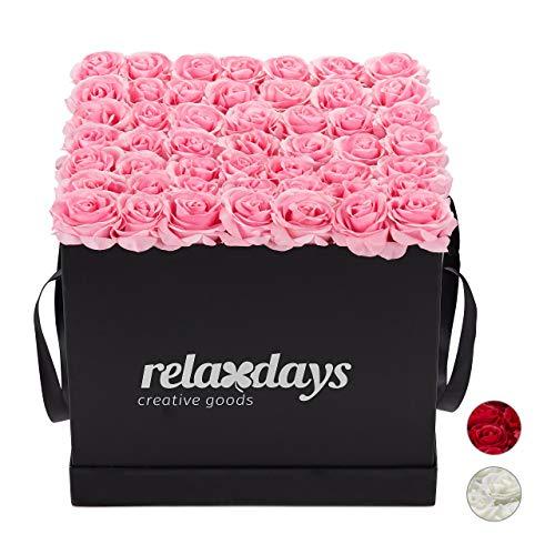 Relaxdays Rosenbox eckig 49 Rosen, stabile Flowerbox schwarz, 10 Jahre haltbar, Geschenkidee, dekorative Blumenbox, rosa