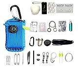 HW Kit De Supervivencia De Emergencia, 29 En 1 Granate Paracord Mini Kits De Primeros Auxilios Set De Arranque De Fuego De Silbato Cebos De Supervivencia Brújula,Blue