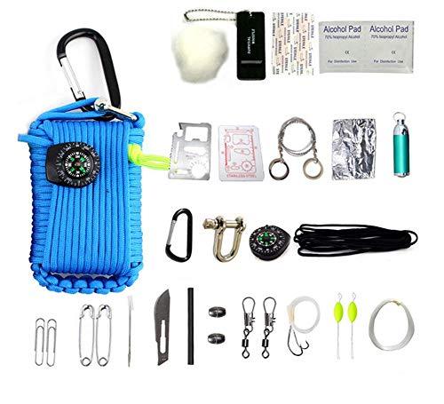 HW Kit De Survie d'urgence, 29 en 1 Ensembles De Premiers Soins De La Grenade Paracord Mini-Sifflet Ensemble De Démarrage du Survival Baits Compass,Blue
