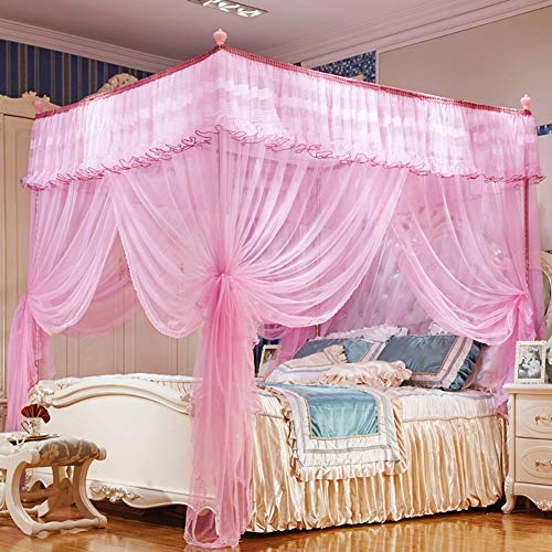 Why Choose TYX-SS 3 Door Mosquito Net Household Princess European Romance Double Square Top Encrypti...