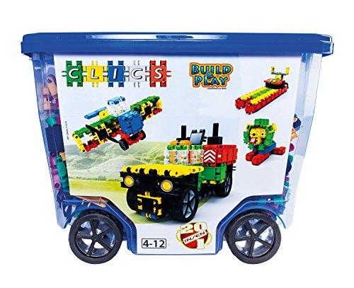 Clics Konstruktionsspielzeug für Kinder ab 3 Jahre, kreatives Lernspielzeug im 560 Teile Set, Bausteine für Mädchen und Jungen, Montessori STEM-Spielzeug, Box mit Rollen 20 in 1,