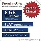 PremiumSIM LTE XL Allnet Flat - monatlich kündbar (FLAT Internet 8 GB LTE mit max. 50 MBit/s mit deaktivierbarer Datenautomatik, FLAT Telefonie, FLAT SMS und EU-Ausland, 19,99 Euro/Monat)