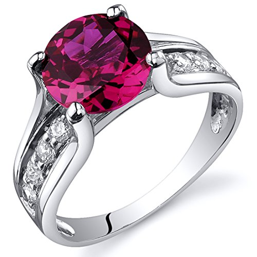 Created Ruby Solitaire Style Ring Sterling Silver 2.50 Carats Size 8
